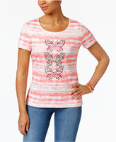 Karen Scott Striped Butterfly-Graphic Cotton Top, Only at Macy's