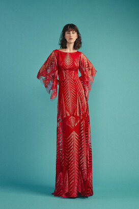 Beside Couture by GEMY Wide Sleeve Sequined Gown