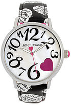 Betsey Johnson Speech Bubble Analog Faux-Leather-Strap Watch