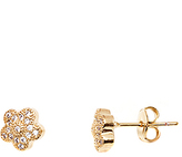 Sweet & Soft Gold Flower Stud Earrings With Swarovski® Crystals