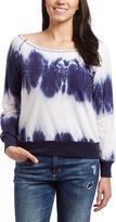 Navy & White Tie-Dye Boatneck Sweater