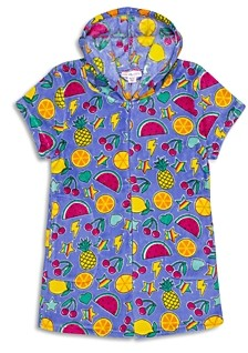 Candy Pink Girls' Hooded Fruit Print Fleece Pajama Romper - Big Kid