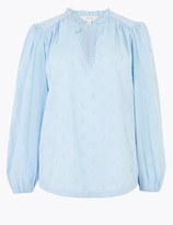 Per Una UsMarks and Spencer Pure Cotton Embroidered Tie Front Blouse
