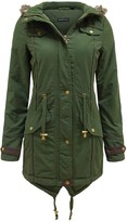 Thumbnail for your product : Brave Soul Ladies Fur Oversized Hood Military Fishtail Padded Parka Coat Jacket [Uk 10]