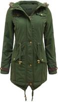 Thumbnail for your product : Brave Soul Ladies Fur Oversized Hood Military Fishtail Padded Parka Coat Jacket [Uk 14]