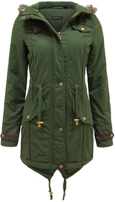 Brave Soul Ladies Fur Oversized Hood Military Fishtail Padded Parka Coat Jacket [Uk 10]