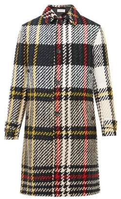 Lanvin Loden Checked Wool Blend Coat - Mens - Black