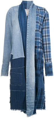 Greg Lauren Deconstructed Patchwork Midi Coat
