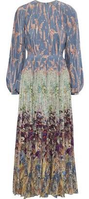 Valentino Pleated Printed Silk Crepe De Chine Maxi Dress