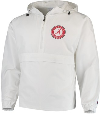 Champion Men's White Alabama Crimson Tide Tailgate Packable Half-Zip Jacket