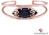 """Zales Julianna BTM Onyx and 1/4 CT. T.W. Diamond Cursive """"JB"""" Cuff in Sterling Silver with 18K Rose Gold Plate"""