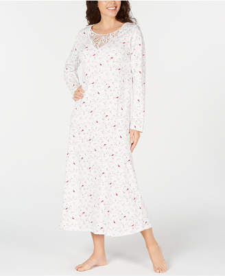 Charter Club Cotton Plus Size Lace-Trim Printed Nightgown