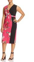 Marina Rinaldi Damiere Floral Blocked Sheath Dress
