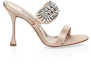 Manolo Blahnik Women's Embellished Satin Mule Sandals