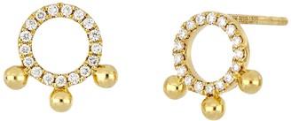 Bony Levy 18K Yellow Gold Open Circle Diamond Bead Stud Earrings - 0.12 ctw
