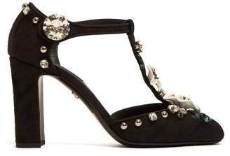 Dolce & Gabbana Vally Lily T-bar Jacquard Pumps - Womens - Black Multi