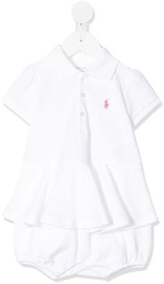 Ralph Lauren Kids logo embroidered pleated dress