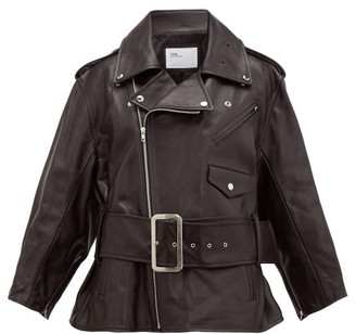 Toga Belted Leather Biker Jacket - Black