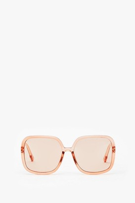 Nasty Gal Womens We'll Be Square Oversized Clear Sunglasses - Nude