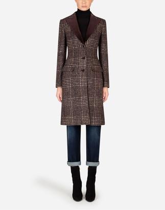 Dolce & Gabbana Single-Breasted Tartan Tweed Coat