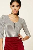 Forever 21 FOREVER 21+ Striped Zip-Front Bodysuit