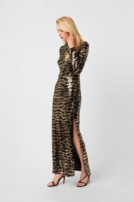 French Connection Ebba Tiger Sequin Maxi Split Dress