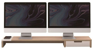 Kurt Geiger Pout Eyes 9 Dual Monitor Stand/Riser Wireless Charging/USB-A Hub Station