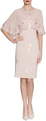 Gina Bacconi Embroidered Crepe Dress And Chiffon Cape