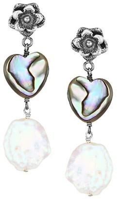 Chan Luu Sterling Silver, Shell 13-14MM Baroque Pearl Heart Drop Earrings