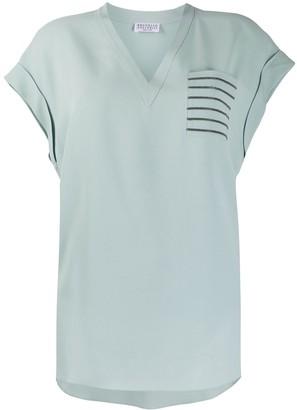 Brunello Cucinelli V-neck patch pocket silk T-shirt
