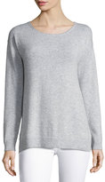 Letarte Cashmere Palm Tree Pullover Sweater, Gray