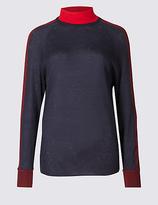M&S Collection Wool Rich Colour Block Funnel Neck Jumper