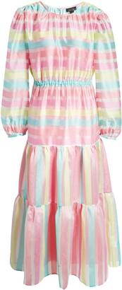 Halogen x Atlantic-Pacific Long Sleeve Stripe Tiered Organza Dress