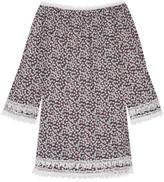 Miguelina Tammy Crochet-trimmed Floral-print Cotton-voile Mini Dress - medium
