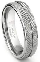 Metal Factory Tungsten Carbide 7MM Diamond Cut Chevron Wedding Band Ring Sz 12.0