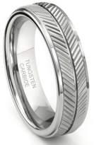 Metal Factory Tungsten Carbide 7MM Diamond Cut Chevron Wedding Band Ring Sz 7.0