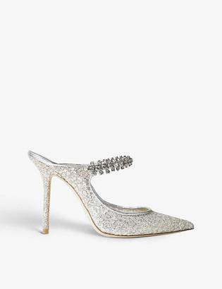 Jimmy Choo Bing 100 crystal-embellished glitter-tulle heeled mules