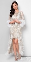 Terani Couture Fitted Embroidered Cocktail Dress with Feathered Duster