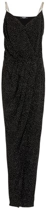 Balmain Black Crystal-embellished Chiffon Maxi Dress