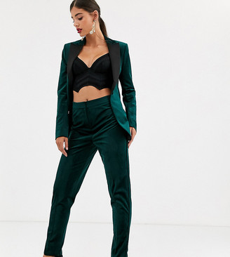 Asos Tall DESIGN Tall velvet tux slim suit pants-Green
