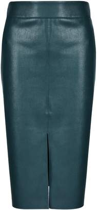Dorothy Perkins Womens Green Pu Midi Skirt, Green