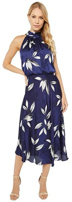 Adrianna Papell Tossed Leaves Halter Dress (Navy/Ivory) Women's Dress