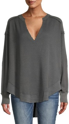 Free People Ribbed High-Low Cotton-Blend Sweater