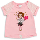 Flapdoodles Girls 2-6x Lace and Graphic Tee