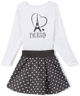 Beary Basics White Long-Sleeve Top & Black Dot A-Line Skirt - Toddler & Girls