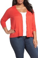 Sejour Plus Size Women's V-Neck Pocket Cardigan