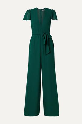Reformation Anaya Belted Georgette Jumpsuit - Emerald