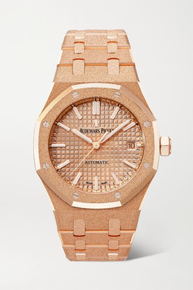 Audemars Piguet Royal Oak Automatic 37mm 18-karat Frosted Pink Gold Watch - Rose gold