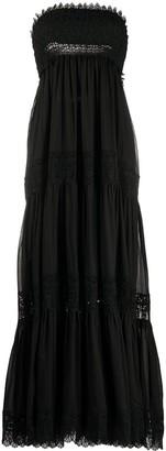 Charo Ruiz Ibiza Lace-Insert Strapless Maxi Dress