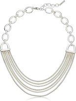 "Nine West Silver-Tone Multi-Row Collar Necklace, 16"""